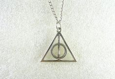 Harry potter jewelry Deathly Hallows Necklacependant silver via Etsy