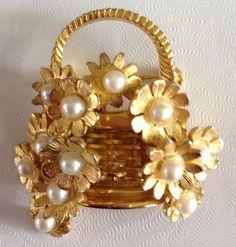 Vintage Signed Hobe Pearl Flower Basket Brooch.