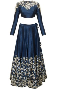 Navy blue pitta and zardosi embroidered lehenga set available only at Pernia's Pop-Up Shop.