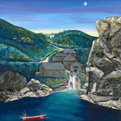 Church-Cove The Lizard Time Painting, Fabric Painting, Lighthouse Drawing, Cool Artwork, Amazing Artwork, Best Jigsaw, Magic Art, Naive Art, Community Art