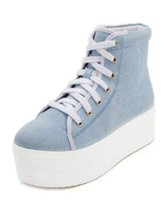 Chambray Fabric Platform Sneaker