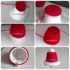 come realizzare una campanella uncinetto babbo natale da fare con i contenitori di plastica riciclati la forma ricorda il cappello di babbo natale