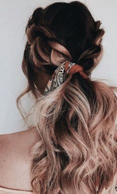 braided ombre hair and hair scarf - Hair and makeup inspiration from everyday to the runway. Makeup beauty tutorials natural hair hairstyles products makeup tips hacks eyes lips face everyday contour eyebrows vanity Braided Hairstyles Updo, Bohemian Hairstyles, Scarf Hairstyles, Pretty Hairstyles, Lazy Hairstyles, Hairstyles 2018, Natural Hairstyles, Hairstyle Ideas, Bad Hair