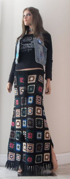 Items similar to MishogaWear Vintage MW Hippie Couture Hand Knit Skirt One Size on Etsy