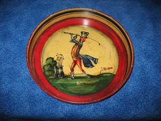 Vintage Peter Ompir Painted Beer / Ale Tray English Golfer Golf Clubs Ball Tee