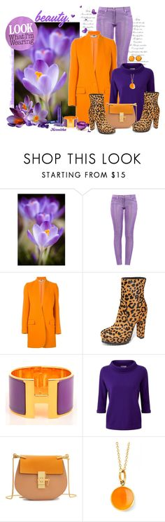 """""""nr 969 / Crocuses"""" by kornitka ❤ liked on Polyvore featuring Boutique Moschino, STELLA McCARTNEY, Alice + Olivia, Hermès, Pure Collection, Chloé, Syna and Lalique"""