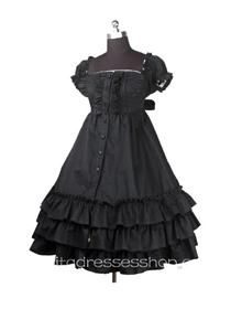 Black Square-collar Short Sleeve Empire Waist classic Lolita dress With three Layers Hem Style