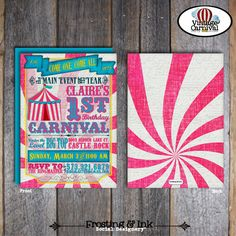 Carnival Party - Circus Party - Invitation & Wrap Around Address Labels - Pink Blue Yellow - Customized Printable (Girl, Vintage, Big Top) by frostingandink on Etsy https://www.etsy.com/listing/120264433/carnival-party-circus-party-invitation
