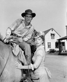 American actor Dennis Weaver and American actress Amanda Blake in the episode titled 'Hot Spell' of the TV western 'Gunsmoke,' June Weaver sits on a horse. Hollywood Stars, Classic Hollywood, Matt Dillon, Vintage Television, Miss Kitty, Tv Westerns, Old Tv, Show Photos, Classic Tv