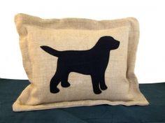 Labrador Hessian Cushion