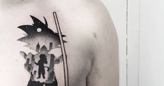 Tattoo Artist: Matteo Nangeroni. Tags: categories, Illustrative, Contemporary, Other, Experimental, Double Exposure, Fictional characters, Son Goku, TV Series, Dragon Ball Z. Body parts: Chest.