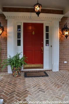 Front door painted in Benjamin Moore, Heritage Red