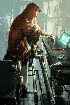 hacker art by contatocontrol - Wallpaper Animes, Animes Wallpapers, Hacker Art, Character Inspiration, Character Art, Arte Steampunk, Underwater Painting, Facebook Art, Arte Cyberpunk