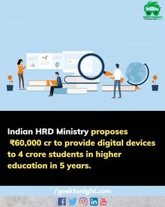 The HRD Ministry on Monday announced that it will spend 60000 crore over the next five years to provide digital devices to almost 40% of college students in India. Devices such as laptops mobile phones tablets and television will be given to almost four crore students by 2025-26. The announcement was made during a presentation to the 15th Finance Commission. . . . follow us for more such updates @geek_tonight . . . #geektonight #hrd #rameshpokhriyal #modi #digitalindia #digitalmarketing… Digital India, The Next, Higher Education, Mobile Phones, College Students, Ministry, Laptops, Announcement, Digital Marketing