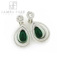 Pantone Spring 2014: Comfrey -- James Free Collection 18K white gold, diamond emerald tear drop earrings, James Free Jewelers