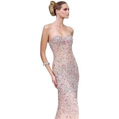 Pre-owned Alyce Paris Peach Alyce   Prom Style 6121 Dress (€250) ❤ liked on Polyvore featuring dresses, peach, strapless evening dresses, sparkly dresses, evening dresses, jeweled prom dress and prom dresses