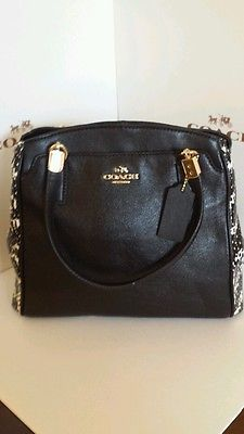 New Coach handbag  Python Snake Skin  Minetta Leather Satchel, two tone black.