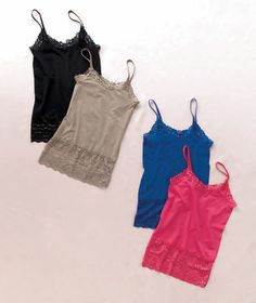 Women's Sets of 2 Lace Trim Camisoles- great layering pieces!