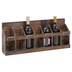 Stow your favorite vintages in style with this lovely wood wine rack, showcasing 7 bottle slots and a weathered chocolate finish. ...