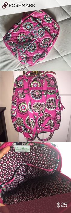"Vera Bradley Cupcakes Pink Pattern Small Backpack This bag is 100% authentic Vera Bradley & in Excellent used condition! Has been used only a few times and needs a new home. Pattern is 'Cupcakes Pink' and measurements are: 9 1/2"" W x 12 1/2"" H x 4"" with 31"" adjustable straps. Plenty of space & compartments! Super cute to bring to school, or to use as an everyday bag! Vera Bradley Bags Backpacks"