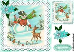 Cute little deer with snowman with little birds 8x8 on Craftsuprint - Add To Basket!