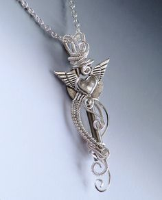 Winged Heart Skeleton Key Necklace wire weave by JewelryFusion, $40.00