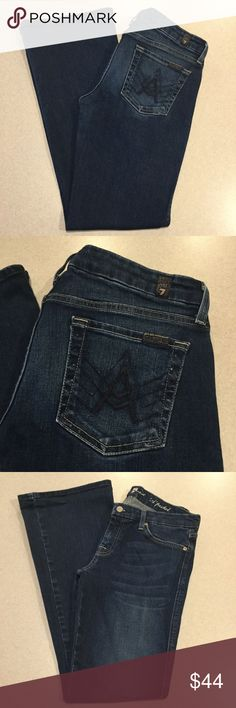 7 For All Mankind Jeans 30X32.5 A Pocket New NYD! 7 for all mankind jeans A pocket flare New New York dark with famous blue A's! Size 30 32.5 inch unaltered inseam Beautiful vibrant medium wash, stretchy denim Perfect preowned condition, no flaws Retailed for $198.00 