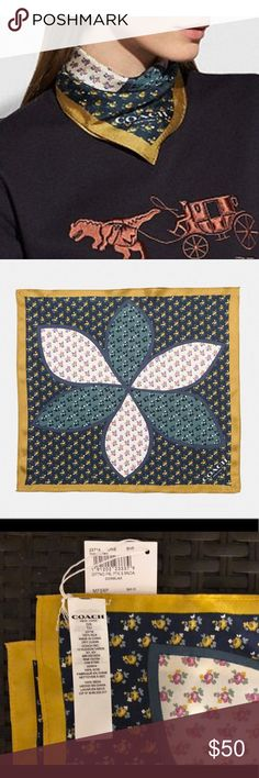 """COACH Marguerite Floral Patchwork Hanky NWT Brand new with tags! Beautiful silk Coach kerchief/scarf. Color is Midnight Navy. Yellow border.  100% silk 16"""" x 16"""" Style #23716 ⭐️Also available in Purple in separate listing!⭐️ Coach Accessories Scarves & Wraps"""