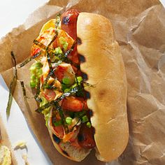 The Surfer Hot Dog - A day of catching waves requires plenty of protein for sustenance, and with both meat and shrimp, this dog delivers. Slivered nori adds a little more ocean flavor.