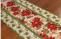 Christmas Table Runner Quilted Poinsettia Table Runner Red