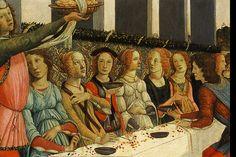 1484  - Story of Nastagio degli Onesti: Marriage Feast by Sandro Botticelli - - SERVER HAS A LONG WHITE TOWEL