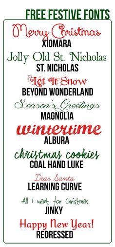 Festive Fonts ~ free downloads posted by Heddy at Daily Digi. These are great, full of spirit and charm!