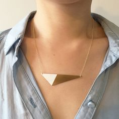 Brass Triangle and Enamel Necklace: Cyclical Industry Jewelry Companies, Geometric Shapes, Handmade Necklaces, Color Blocking, Arrow Necklace, Triangle, Enamel, Brass