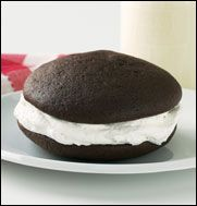 """Classic Wicked Whoopie:    Go ahead, take a bite and see where we got the name. Our bestselling flavor, Classic Chocolate, will make you shout, """"Whoopie!"""" Rich, dark chocolate cake shells with light, fluffy cream filling. Simply habit-forming."""