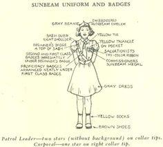 Early Sunbeam uniform chart (circa Late 1950s-early 1960s)