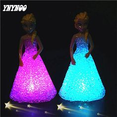 YNYNOO Fashion Princess Anna Elsa Model With LED Light Elsa Figures Kids Action Toys Figure Baby Carttoon Toys Children Gifts #Affiliate