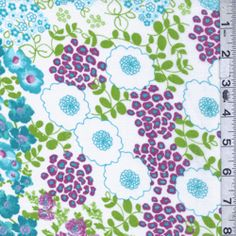 Aqua Blue/White Floral Lawn - Fabric By The Yard