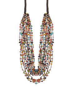Another great find on #zulily! Black & Red Graduating Glass Bead Layered Necklace #zulilyfinds