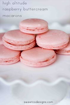 Raspberry buttercream macarons -this recipe works well at high altitude, too!