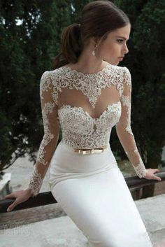 NEW white /ivory Mermaid Wedding Dress lace Long Sleeve Bridal Gown | eBay