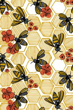 Honey Bee Hexagon by tiffanyheiger - Hand drawn honey bees on fabric, wallpaper, and gift wrap. Geometric honey pods in vintage tones with orange flowers.