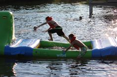 Wibit at Camp Frontier Lake Front near Pioneer, OH.  Challenge your Friends this summer!