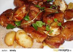 Česnekový bůček na pivě recept - TopRecepty.cz Czech Recipes, Ethnic Recipes, Snack Recipes, Snacks, Bucky, Chicken Wings, Pork, Food And Drink, Sweets