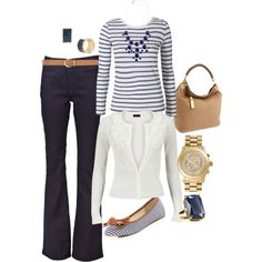 Love this nautical inspired look for the office #fashion #style