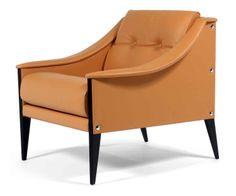 """Gio ponti (1891-1979) & poltrona frau (éditeur)chauffeuse """"dezza 24"""", modèle dessiné en 1965, piétement sabre en bois teinté noir à découpe ..."""