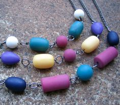 Box of Crayons Necklace Set (3) $45.00 - handmade using recycled vintage steel chain and colorful matte finish beads - They look great worn together or separately!