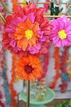 Cinco de Mayo Bar Cart: Tissue Paper Flowers:AMarriedAdventure.com