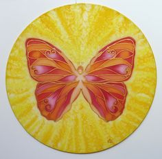 "Red Butterfly - Rebirth ""Magic Feminine"" series silk painting 25 cm"