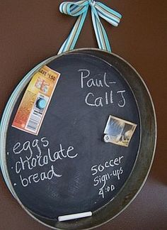 ways to upcycle old baking pans – as a chalkboard!