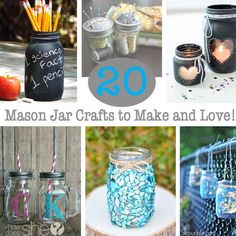 20 Mason Jar Crafts to Make and Love!   How Does She #craftstosell